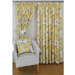 Sienna Floral 3 inch Tape Header 66 inch Width Lined Curtains