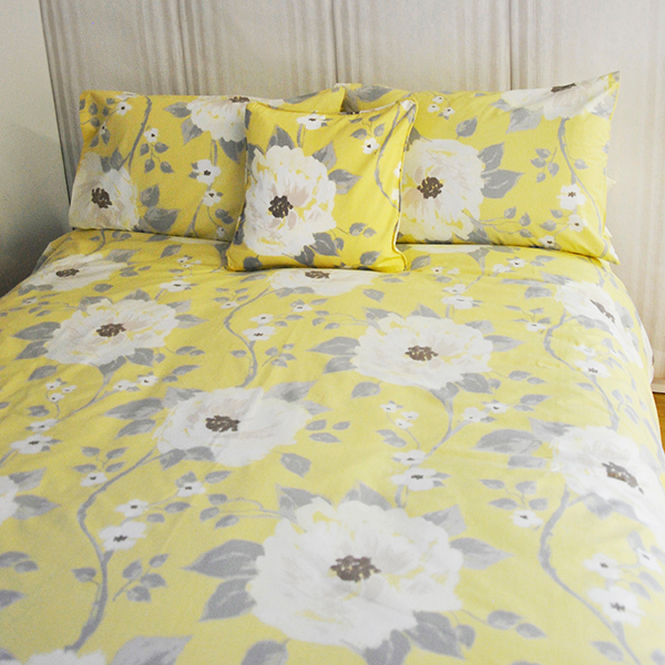 Sienna Floral Double Duvet Cover Set Lemon