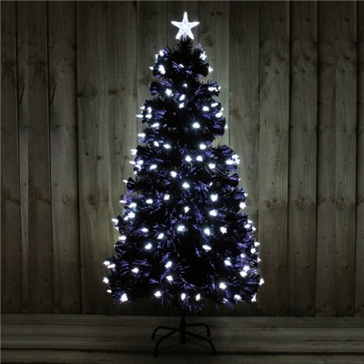 5FT Black Tree with Bright White LED Stars Indoor Use