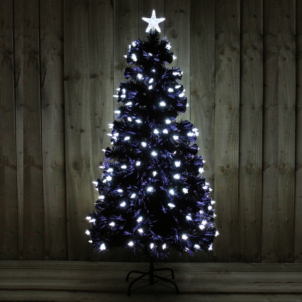 5FT Black Tree with Bright White LED Stars Indoor Use No Colour