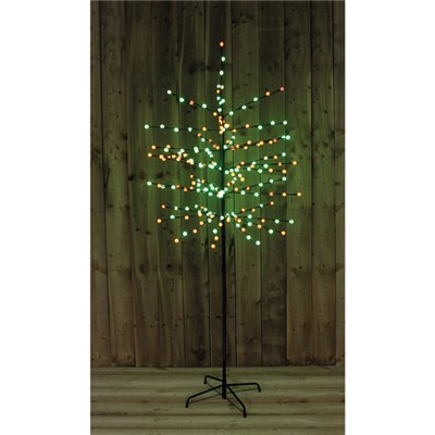 6ft 200 LED Green and Red Berry Tree Indoor or Outdoor Use