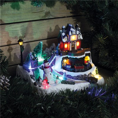 LED Christmas Village with Turning Snowman Indoor Use
