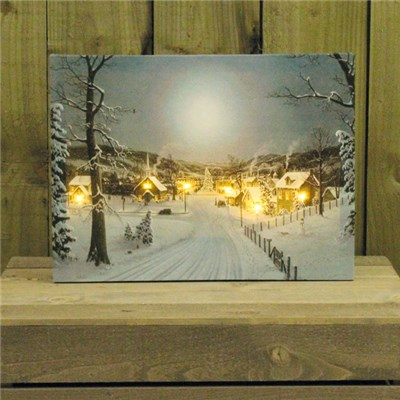 Canvas Print with Flickering LED Snowy Town Scene Indoor Use