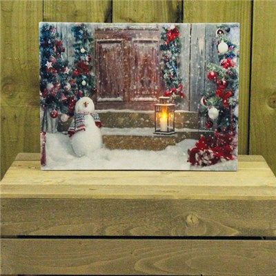 Canvas Print with Flickering LED Snowy front door and snowman print Indoor Use