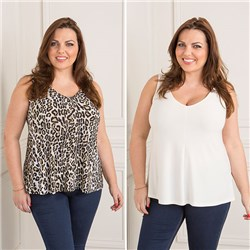 Reflections 2 Pack Print And Plain Two Way Cami