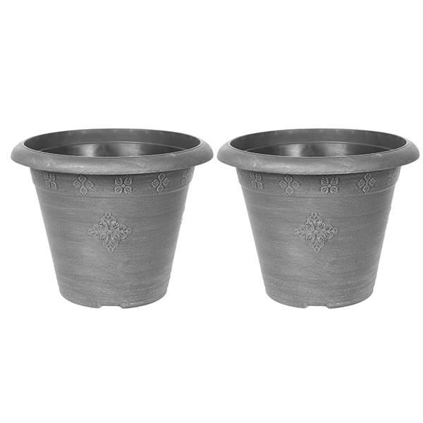 Pair of Large 45cm Medley Round Planters - Silver No Colour