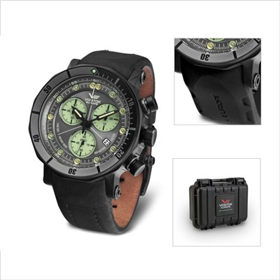 Vostok Europe Gent's Lunokhod 2 Chronograph Watch with Black PVD Plated Case and Interchangeable Straps with Dry Box & Gift