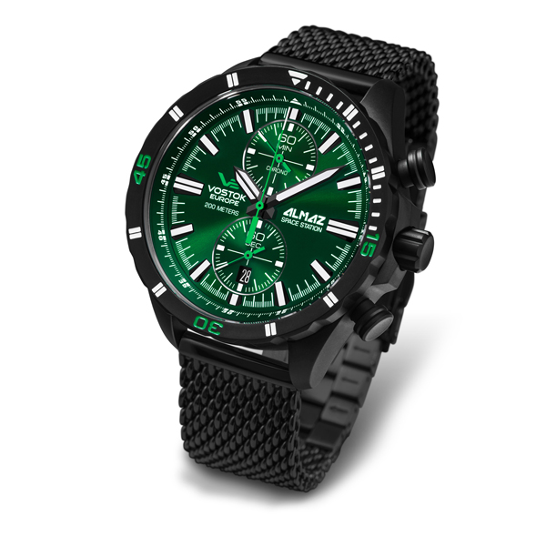 Vostok Europe Gent's Almaz Chronograph Watch with Stainless Steel Milanese Bracelet Strap Green