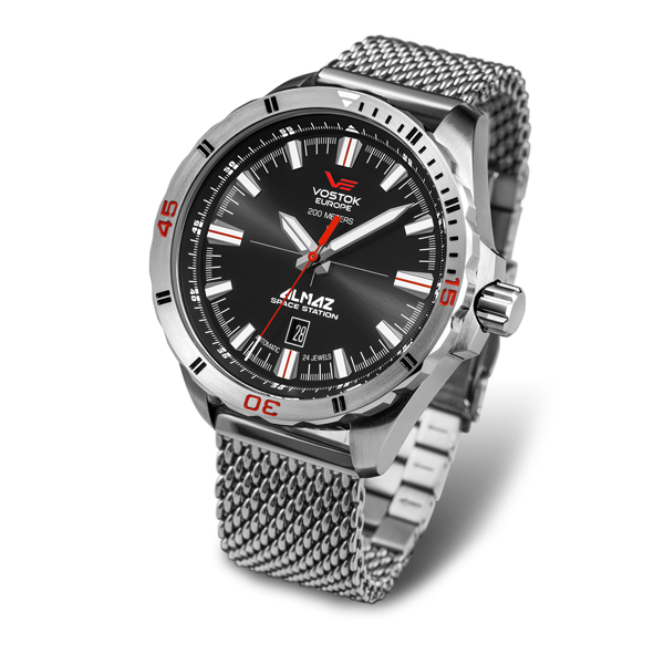 Vostok Europe Gents Almaz Automatic Watch with Stainless Steel Milanese Bracelet Strap Silver