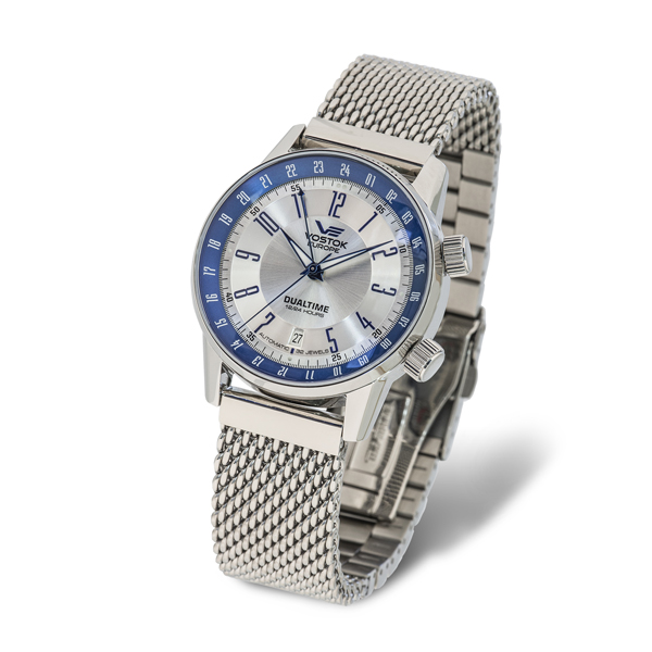 Vostok Europe Gents Gaz-14 Limousine Automatic 2426 Watch with Stainless Steel Milanese Bracelet Strap Blue