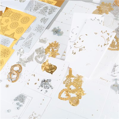 Create and Craft Luxury Christmas Gold and Silver Card and Embellishment Set