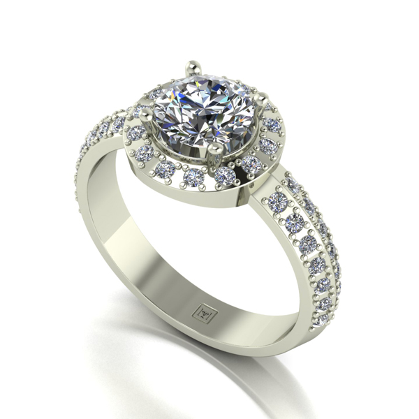 Moissanite 9ct Gold 1.40ct eq Lady Lynsey Halo Ring with Shoulder Detail White Gold