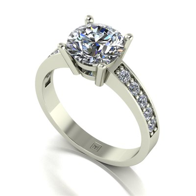 Moissanite 9ct Gold 2.25ct eq Lady Lynsey Solitaire and Shoulder Detail Ring