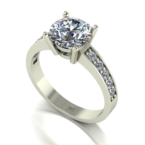 Moissanite 9ct Gold 2.25ct eq Lady Lynsey Solitaire and Shoulder Detail Ring White Gold