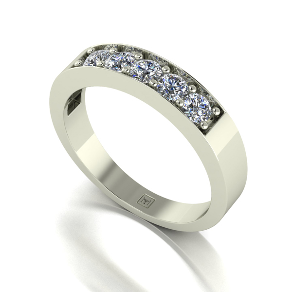 Moissanite 9ct Gold 0.50ct eq Lady Lynsey 5 Stone Ring White Gold
