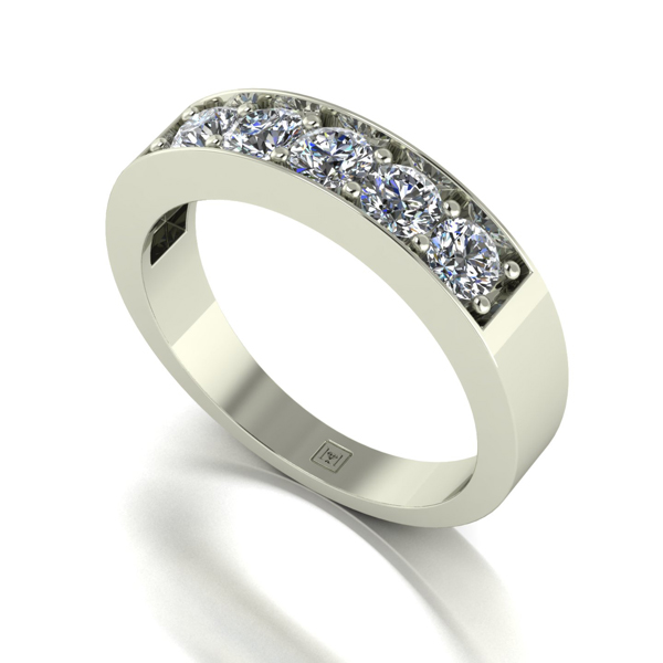 Moissanite 9ct Gold 1.00ct eq Lady Lynsey 5 Stone Ring White Gold