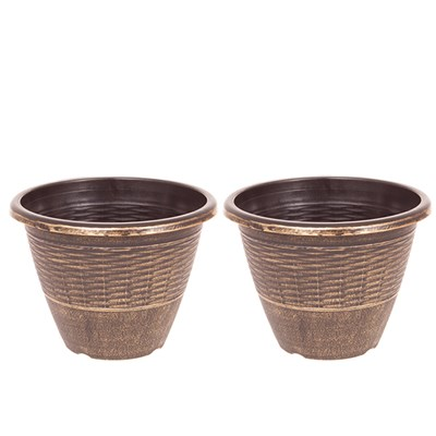 Pair of 13 inch Wicker Effect Black and Gold Planters