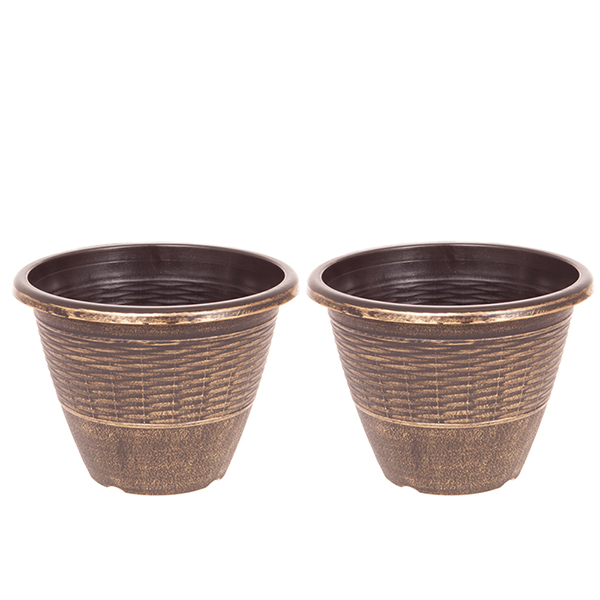 Pair of 13 inch Wicker Effect Black and Gold Planters No Colour