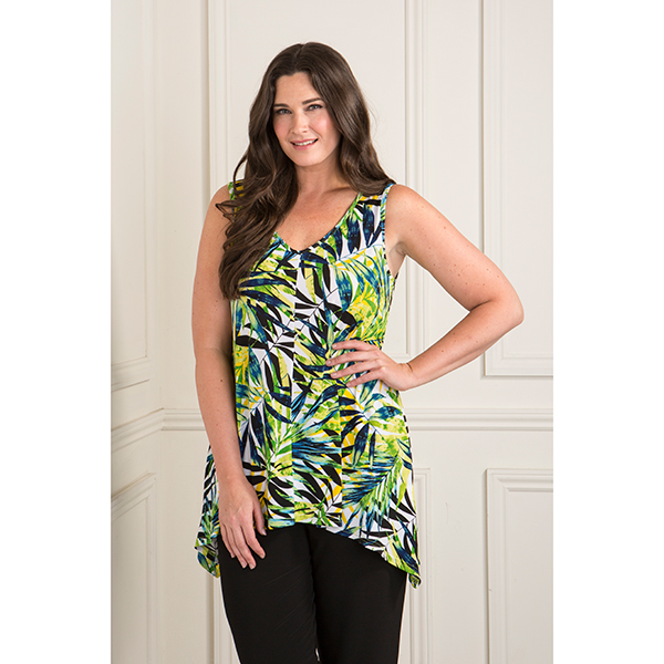 Reflections Print Long Dip Hem Cami Green Palm Print