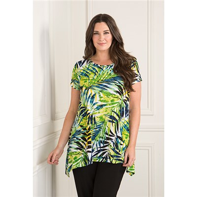 Reflections Short Sleeve Print Swing Top