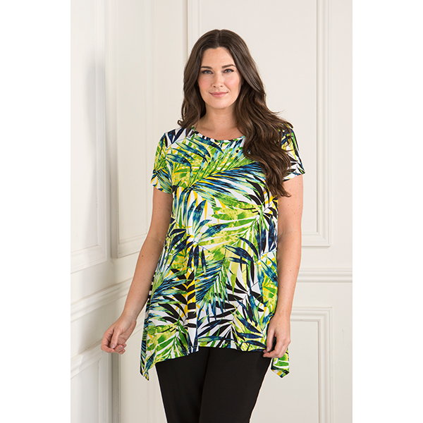 Reflections Short Sleeve Print Swing Top Green Palm Print