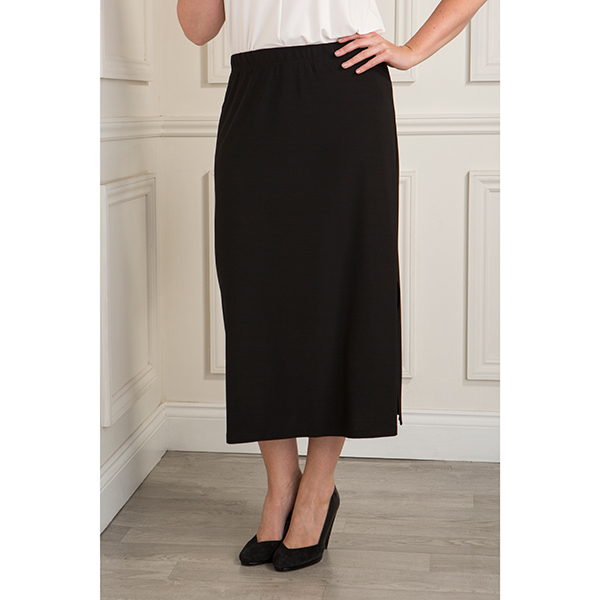 Reflections Skirt with Side Slit Black