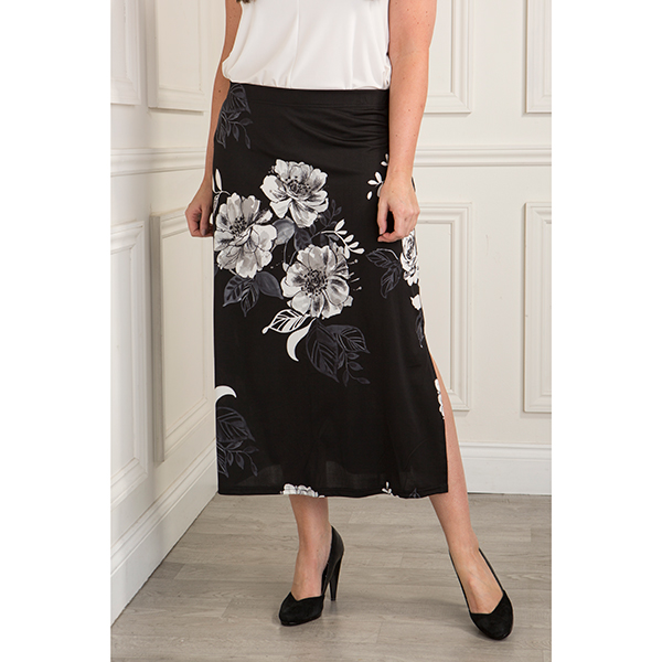 Reflections Printed Soft Skirt Black Floral