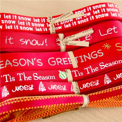 Create and Craft Set of 6 Let it Snow Christmas Ribbons 3m