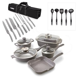 Tower 16 Piece Pro CeraStone Die Cast Pan and Stainless Steel Knives Set With Free Tower 5 piece Nylon Utensils
