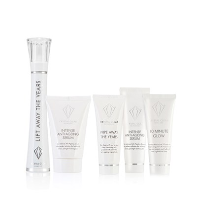 Crystal Clear Lift Away The Years Kit with Bonus Sunshine Repair Kit - Wipe Away the Years Cleanser 25ml, Serum 25ml and 10 Min Glow 25ml
