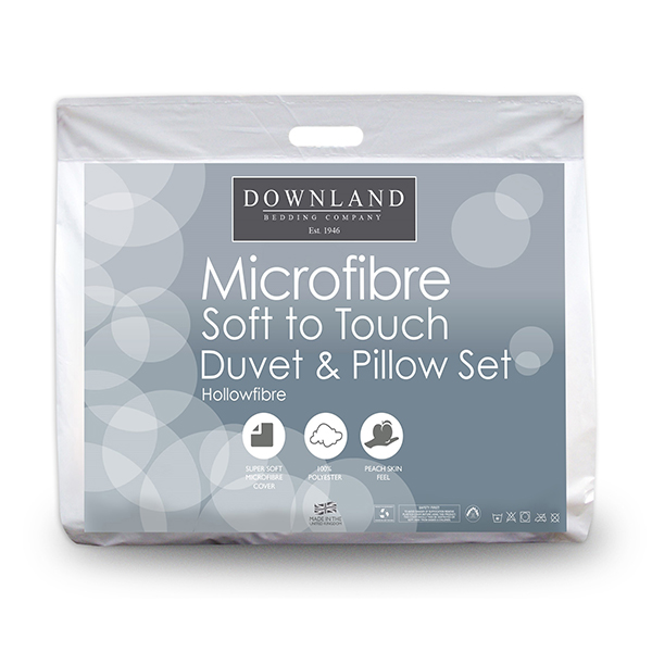 Downland Complete Micro Fibre Bed Set - 4.5 Tog Duvet & Pillows (Double) No Colour