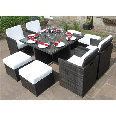 Bermuda Outdoor Rattan Cube - includes 4 Chairs, 4 Stools with Storage and Square Glass Top Table