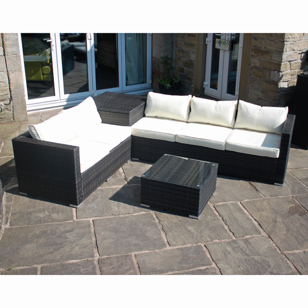 Bermuda Outdoor Rattan Corner Sofa Set with Table and Storage Brown