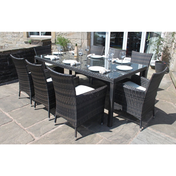 Premium Bermuda Outdoor Rattan 8 Seater Rectangular Dining Set Brown