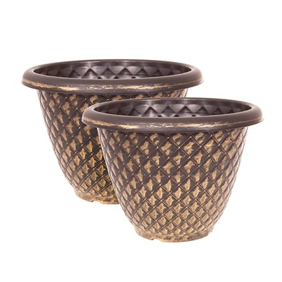 Pair Large 13 inch (33cm) Pinecone Planters - Gold
