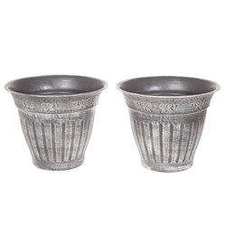 Pair Large 13.5 inch (34cm) Fluted Floral Planter - Silver