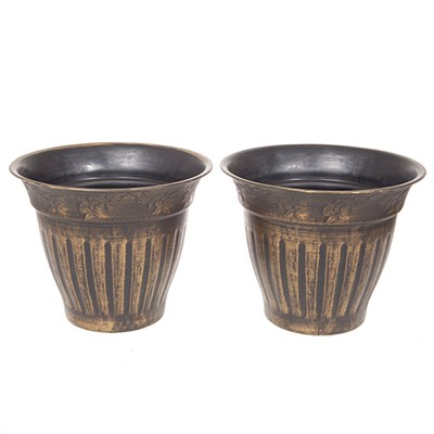 Pair Large 13.5 inch (34cm) Fluted Floral Planter - Gold