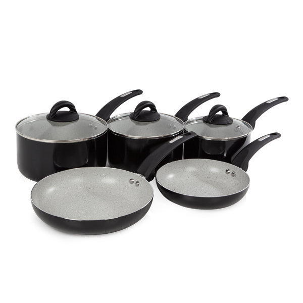 Tower 5 Piece Infinistone Pan Set Black