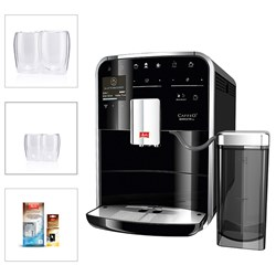 Melitta Barista TS with Filter Cartridge, Pack of 4 Cleaning Tablets, 2 Espresso Glasses and 2 Latte Glasses