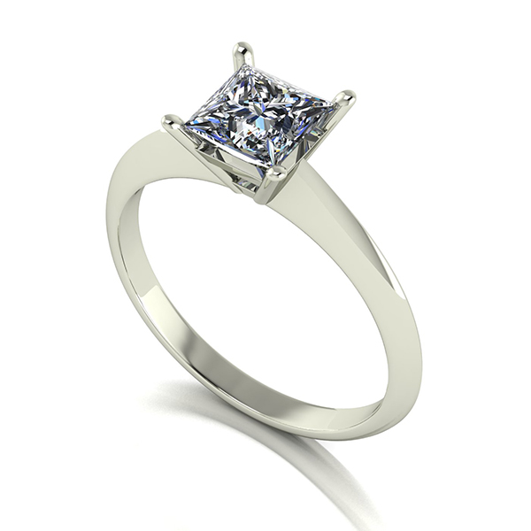 Moissanite 9ct Gold 1.00ct eq Princess Solitaire Ring White Gold
