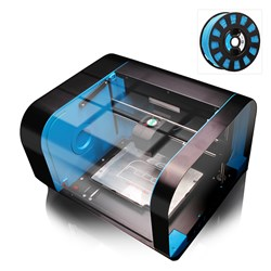 CEL Robox 3D Printer with White PLA Filament and Light Blue SmartReel ColorFabb nGen Filament