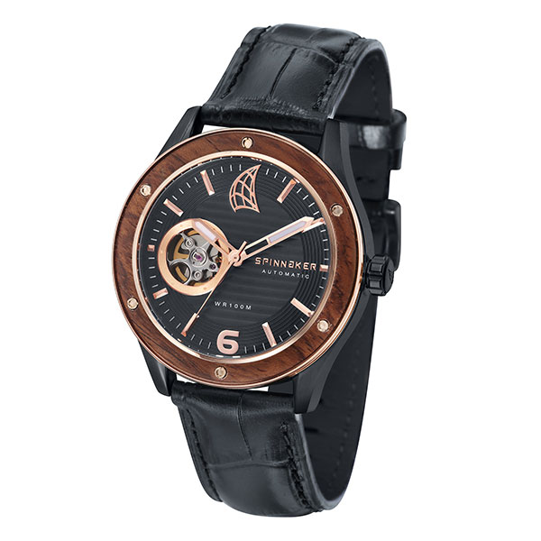 Spinnaker Gent's Sorrento Watch with Open Heart Detail with Black Dial and Genuine Leather Strap Black