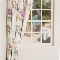 Fleur Faux Silk 3 inch Tape Header Printed Thermal Curtains with Tiebacks