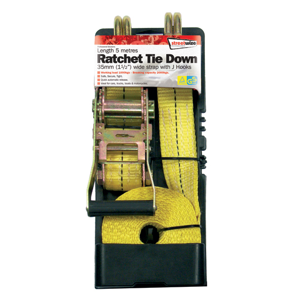 Streetwize 5m Heavy Duty Ratchet Tie Downs No Colour