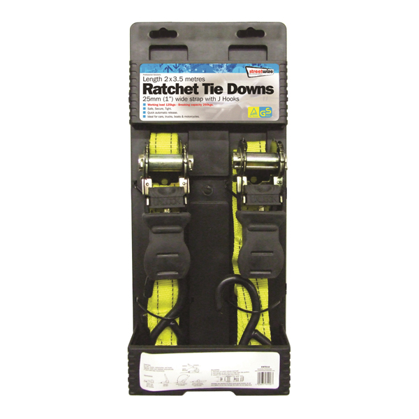 Streetwize 2x 25mm 3.5mm Ratchet Tie Downs No Colour