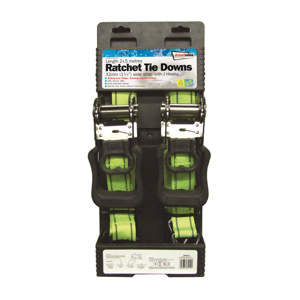 Streetwize 2 x32mm 5m Ratchet Tie Downs No Colour