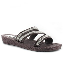 Ella Wedge Crossover Sandals With Diamante Detail