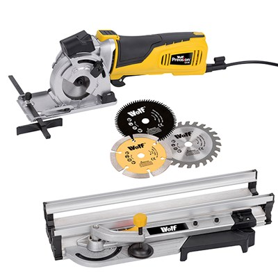 Wolf Laser Guided Precision Saw with Aluminium Guide and 3 Blades