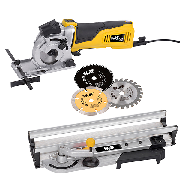Wolf Laser Guided Precision Saw with Aluminium Guide and 3 Blades No Colour