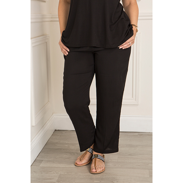 Elasticated Waist Viscose Trouser Black